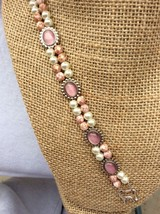Pink Cat's Eye and White Glass Pearl Double Strand Bracelet Free Shipping! - $27.00