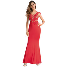 AOVEI Red Lace Sleeveless Backless Bodycon Wrap Sexy Long Maxi Evening Dress - $29.99