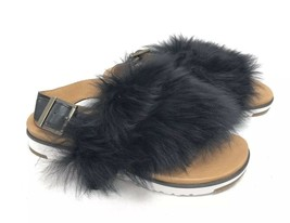 Ugg Australia Holly Black 1019870 Casual Fashion Fur Strappy Sandal Shoe women 6 - $99.99