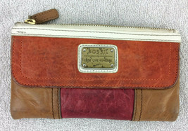 Fossil Brown Red Orange Leather Wallet Flap Top Zipper Clutch - $39.59