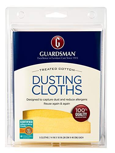 Guardsman Wood Furniture Dusting Cloths - 5 Pre-Treated Cloth - Captures 2x The