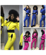 Man Woman Overall One Piece Snow Ski Suit Nylon Yellow Maroon Navy Blue ... - $220.00
