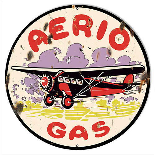 Primary image for Aerio Gasoline Reproduction Motor Oil Metal Sign 14x14 Round