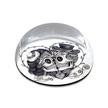 "Skull Couple Black and White Illustrated 2"" Crystal Dome Magnet or Paper... - £12.13 GBP"