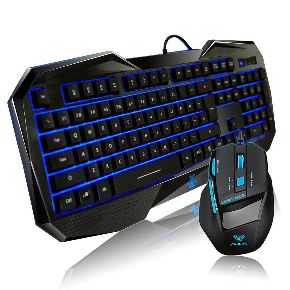 Gaming Mouse And Keyboard Combo Wired Usb Desktop PC Computer Ergonomic Game New