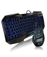 Gaming Mouse And Keyboard Combo Wired Usb Desktop PC Computer Ergonomic ... - £34.98 GBP