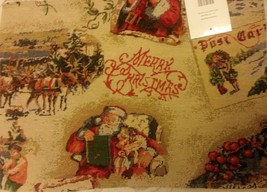 """Set Of 2 Tapestry Placemats, 13"""" X 19"""", Winter, Christmas Postcard Theme # 3 - $8.90"""