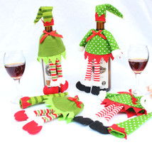 Wine Hold Bottle Cover Decoration Home Party Christmas Elf Wine Bag - $9.00