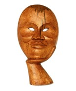 Wooden Hand Carved Abstract Smiling Man Face Mask Statue Art Sculpture D... - $29.09