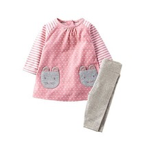 Girls Long Sleeve Clothing Set Animal Appliques Kids Back to School Outf... - $19.54
