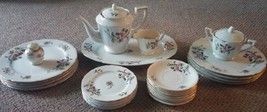 Vintage 25 Pc Set Lot Apple Blossom China Made Japan Teapot, Plate Cream... - $90.00