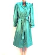 Misty Weather Metallic Green Rain Coat Trench coat True Vintage Jacket R... - $84.15