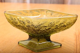Green Indiana Glass Daisy Compote Footed Bowl D... - $23.36