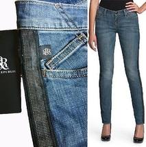 Rock & Republic Berlin Tuxedo-Stripe Skinny Jeans Women's Sz 2 Escargot ... - $37.03
