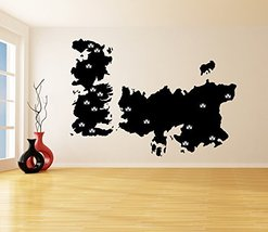 ( 79'' x 56'' ) Vinyl Wall Decal World Map Game of Thrones with Castles / Atlas  - $103.95