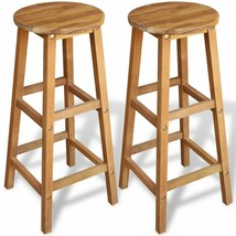 Acacia Wood Counter Stools Set of 2 Bar Stools Oil Finished Kitchen Stoo... - $48.99