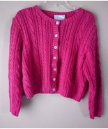 TALBOTS Petites Pink cardigan sweater cable knit 100% cotton size S - $18.57