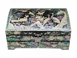 Mother of pearl wood  trinket jewelry box jewel case organizer cranes de... - €197,41 EUR