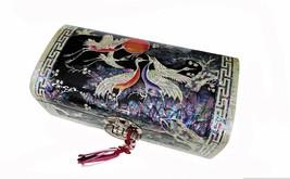 Mother of pearl wood  trinket jewelry box jewel case organizer cranes big - €308,99 EUR