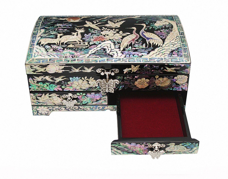 Mother of pearl wood  trinket jewelry box jewel case organizer cranes design
