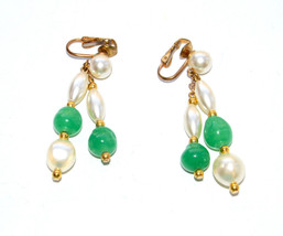 vintage lucite green clip earrings pearl gold - $4.94