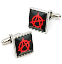 Red Anarchy Sign Sterling Silver Glass Punk Rock Symbol Cufflink Set w/ Box - $32.39