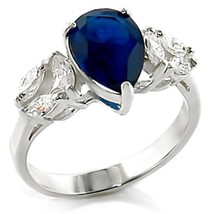 HCJ 2 CARAT STERLING SILVER PEAR CUT BLUE CZ ENGAGEMENT RING SIZE 10 - $22.49