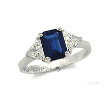 HCJ 3 STONE BLUE & CLEAR CZ STERLING SILVER ENGAGEMENT RING - SIZE 7 LAST 1 - $22.49