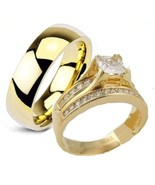 His & Hers 3 Piece Engagement Wedding Ring Set ... - $39.99