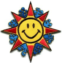 Sun smiley face groovy 70s retro applique iron-on patch S-302 - $2.95