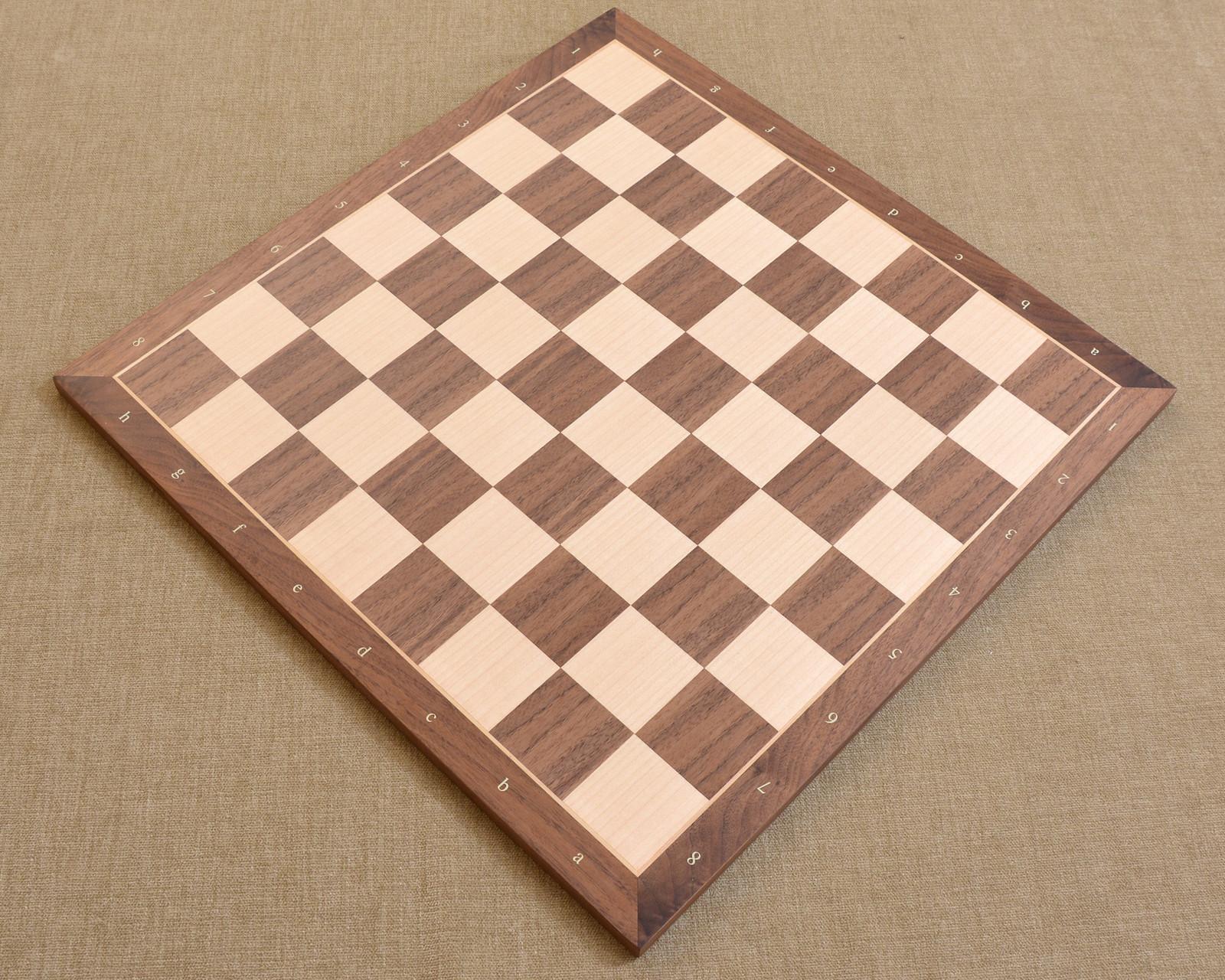 "Standard Walnut Maple Wooden Chess Board with Notation 18"" - 50 mm - SKU: B1017"