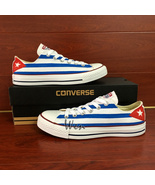 Custom Hand Painted Cuba Flag Low Top Converse All Star Sneakers Women M... - $145.00+