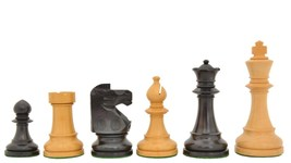Reproduced 1941 Liberty Chess Set No. 101 in Stained Jet Black / Box wood S1262 - $137.99