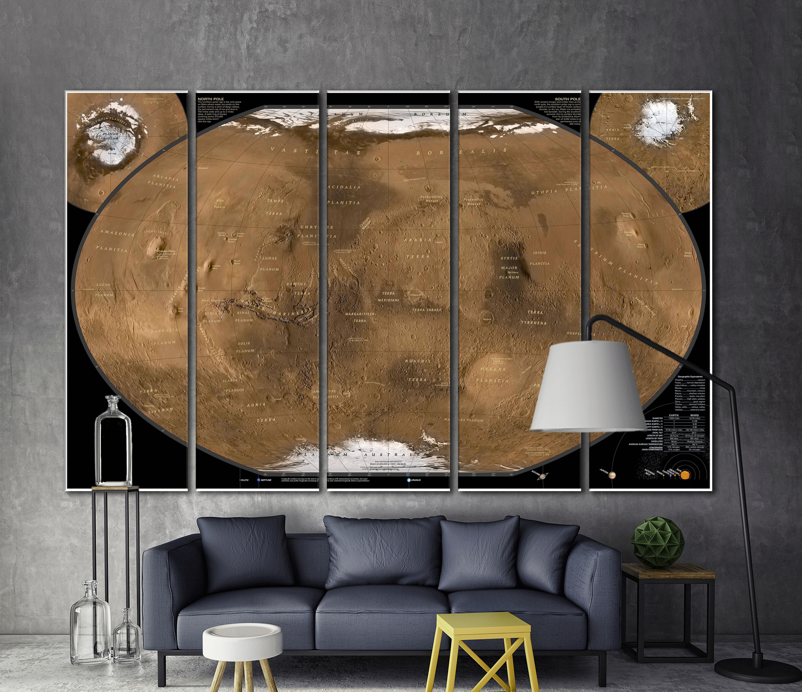 Modern wall art large wall art mars map decor for home for Modern home decor market