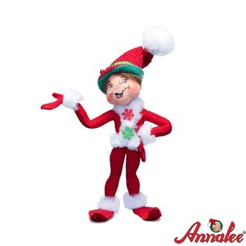"Annalee 9"" Red Corduroy Elf Figurine"