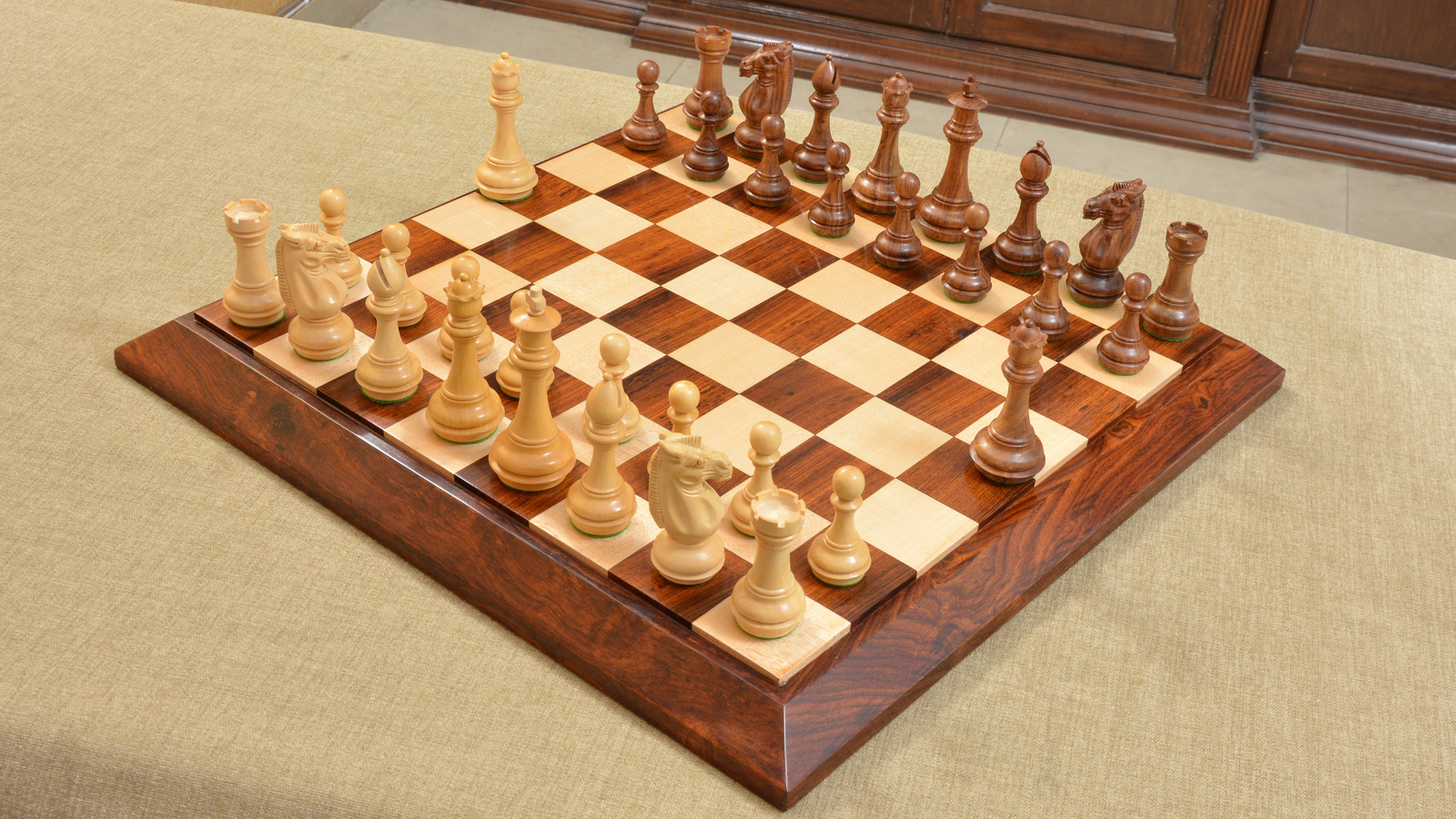 Premium Club Triple Weighted Chess Pieces & Board Combo in Sheesham Wood- M0024