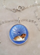Sterling Silver 925 Pendant Necklace Hamster on Wheel Cute Animal - $30.50+