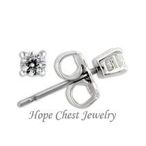 HCJ Brand Sterling Silver Small 3mm Round Shape Cubic Zirconia Stud Earrings - $11.69