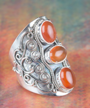 Amazing 925 Carnelian Gemstone Sterling Silver Ring All size BJR-385-CA - $19.99