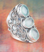Amazing Faceted Aqua Chalcedony Gemstone Silver... - $19.99