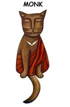 Pink Cloud Monk Brown Cat Swinging Pendulum Wall Clock - $41.99