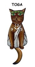 Pink Cloud Toga Brown Cat Swinging Tail Pendulum Wall Clock - $41.99