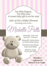Pink Teddy Bear baby shower invitation personalized PRINTABLE - £7.55 GBP