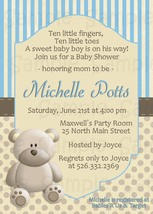 Blue Teddy Bear baby shower invitation personalized PRINTABLE - $9.99