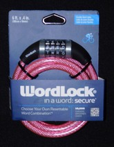 Word Lock Pink 6ft Bicycle Resettable Lock - $9.49