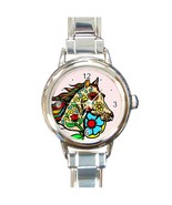 Women's Day Of The Dead Horse Round Italian Charm Watch - $17.99