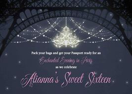 Evening in Paris Invitation, lights, front & back, Sweet Sixteen PRINTABLE - £7.11 GBP
