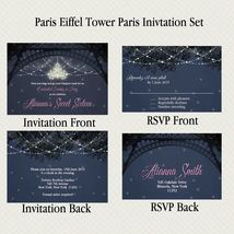 Paris Eiffel Tower Evening Invitation Set, RSVP, Personalized PRINTABLE - £7.48 GBP