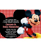 Mickey Mouse baby shower personalized invitation or birthday PRINTABLE  - $9.99