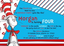 Cat in the hat dr. seuss baby shower personalized invitation birthday PR... - $9.99